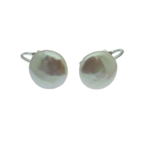Coin Pearl Clip On Earrings 12mm White Cultured Pearls Sterling Silver